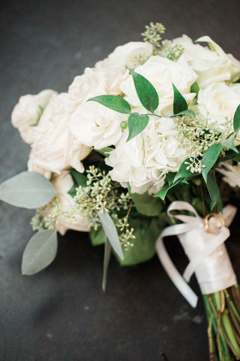 Full Bridal Bouquet with White and Green Flowers