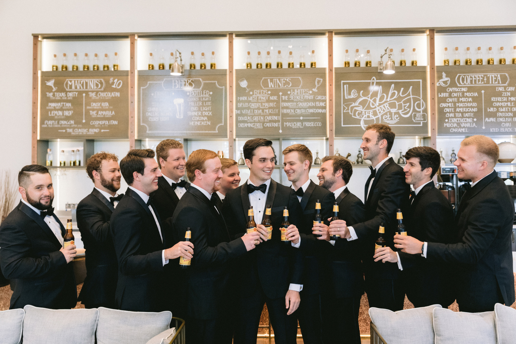 Groomsmen Pose at Double Tree by Hilton Dallas