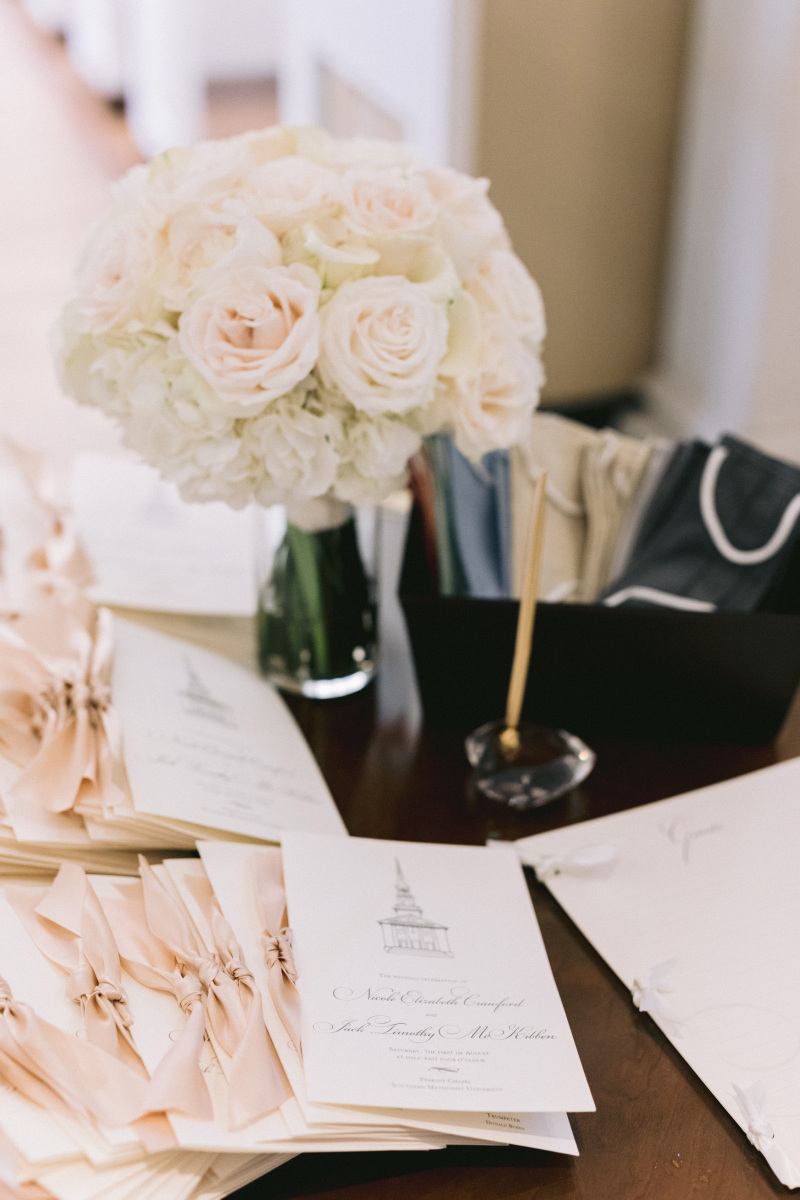 Entry Table with Face Masks for Wedding