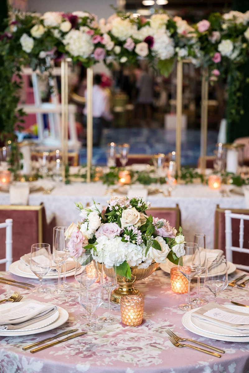 Pink Color Accents for tablescape at The Knot Experience Event in Dallas
