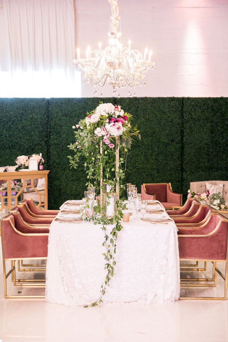 Tall Table Floral with Dusty Rose Velvet Chairs