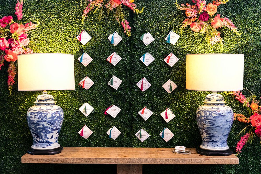 Boxwood Walls with Escort Cards Hanging Off