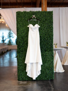 Wedding Dress on Boxwood Wall
