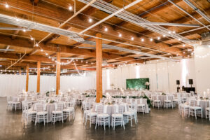 Organic Wedding Reception with Greenery and String Lights